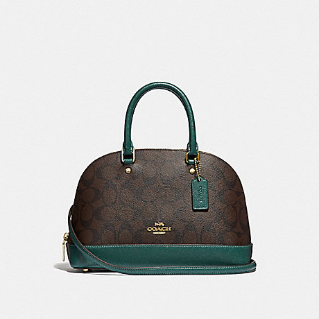 COACH F34290 MINI SIERRA SATCHEL IN SIGNATURE CANVAS BROWN/DARK-TURQUOISE/LIGHT-GOLD