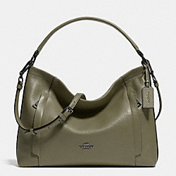 COACH F34312 Scout Hobo In Polished Pebble Leather BLACK ANTIQUE NICKEL/SURPLUS