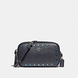 CROSSBODY POUCH WITH RAINBOW RIVETS - f34315 - MIDNIGHT NAVY/SILVER