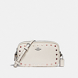 CROSSBODY POUCH WITH RAINBOW RIVETS - f34315 - SILVER/CHALK