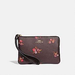COACH F34316 Corner Zip Wristlet With Baby Bouquet Print OXBLOOD MULTI/LIGHT GOLD