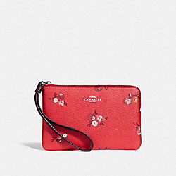 COACH F34316 - CORNER ZIP WRISTLET WITH BABY BOUQUET PRINT BRIGHT RED MULTI /SILVER