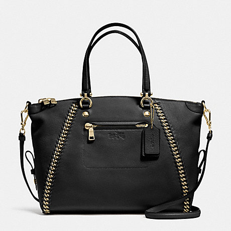 COACH f34339 PRAIRIE SATCHEL IN WHIPLASH LEATHER LIGHT GOLD/BLACK