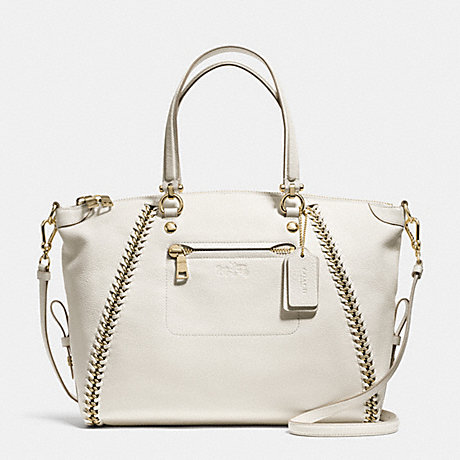 COACH f34339 PRAIRIE SATCHEL IN WHIPLASH LEATHER CHALK