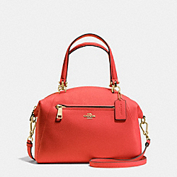 PRAIRIE SATCHEL IN PEBBLE LEATHER - f34340 - LIGHT GOLD/CARMINE