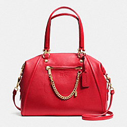 COACH F34362 - PRAIRIE SATCHEL WITH CHAIN IN PEBBLE LEATHER LIGHT GOLD/RED