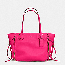 COACH F34398 Tatum Tote In Whiplash Leather LIGHT GOLD/PINK RUBY
