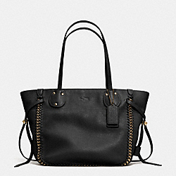 COACH F34398 - TATUM TOTE IN WHIPLASH LEATHER LIGHT GOLD/BLACK