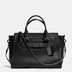 COACH SWAGGER IN NUBUCK PEBBLE LEATHER - f34408 - MATTE BLACK/BLACK