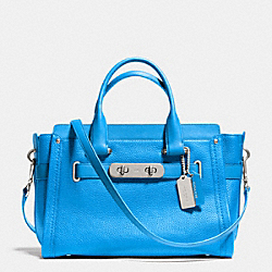 COACH F34408 Coach Swagger In Nubuck Pebble Leather SILVER/AZURE