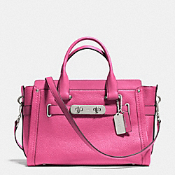 COACH F34408 Coach Swagger In Nubuck Pebble Leather SILVER/DAHLIA