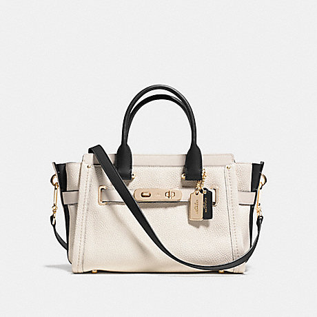 COACH SWAGGER 27 IN COLORBLOCK LEATHER - COACH F34417 - LIGHT GOLD/CHALK MULTI