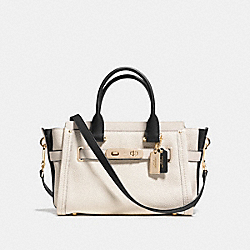 COACH F34417 - COACH SWAGGER 27 IN COLORBLOCK LEATHER LIGHT GOLD/CHALK MULTI