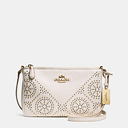 COACH F34426 - MINI STUDS ZIP TOP CROSSBODY IN PEBBLE LEATHER LIGHT GOLD/CHALK