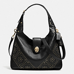 MINI STUDS RHYDER HOBO IN LEATHER - f34448 - LIGHT GOLD/BLACK