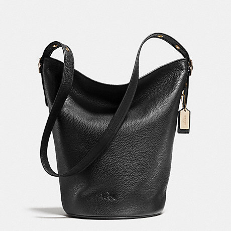 COACH f34474 DUFFLE SHOULDER BAG IN PEBBLE LEATHER LIGHT GOLD/BLACK