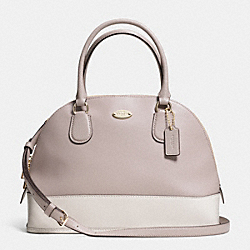 COACH CORA DOMED SATCHEL IN BICOLOR CROSSGRAIN LEATHER - LIGHT GOLD/GREY BIRCH/CHALK - F34491