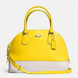 COACH F34491 Cora Domed Satchel In Bicolor Crossgrain Leather  LIGHT GOLD/YELLOW/CHALK