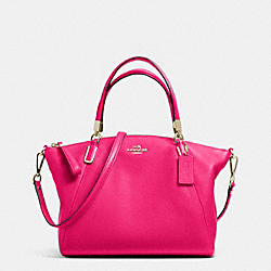 COACH F34493 Small Kelsey Satchel In Pebble Leather LIGHT GOLD/PINK RUBY
