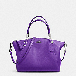 COACH F34493 Small Kelsey Satchel In Pebble Leather SILVER/PURPLE IRIS