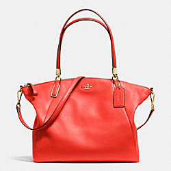 COACH F34494 Kelsey Satchel In Pebble Leather LIGHT GOLD/CARDINAL