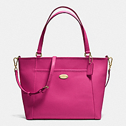 COACH F34497 Pocket Tote In Crossgrain Leather IMITATION GOLD/CRANBERRY