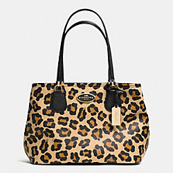 COACH F34504 Kitt Carryall In Ocelot Print Crossgrain Leather LIGHT GOLD/TAN