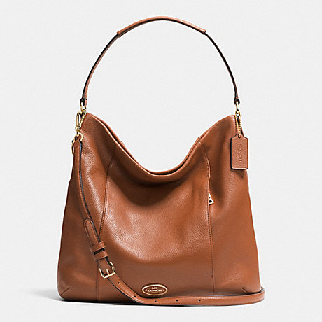 COACH F34511 SHOULDER BAG IN PEBBLE LEATHER LIGHT-GOLD/SADDLE