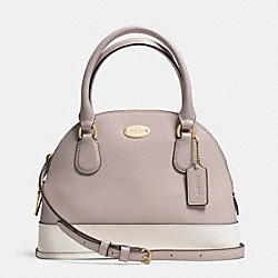 COACH MINI CORA DOMED SATCHEL IN BICOLOR CROSSGRAIN LEATHER - LIGHT GOLD/GREY BIRCH/CHALK - F34517