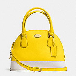 COACH MINI CORA DOMED SATCHEL IN BICOLOR CROSSGRAIN LEATHER - LIGHT GOLD/YELLOW/CHALK - F34517