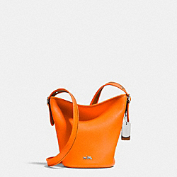 COACH F34527 - C.O.A.C.H. MINI DUFFLE IN POLISHED PEBBLE LEATHER SILVER/NEON ORANGE