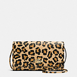 CLUTCH IN OCELOT PRINT CROSSGRAIN LEATHER - f34540 - LIGHT GOLD/TAN