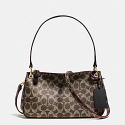 COACH F34546 - CHARLEY CROSSBODY IN SIGNATURE LIGHT GOLD/SADDLE/BLACK