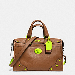 COACH F34556 - C.O.A.C.H. RHYDER 24 SATCHEL IN CALF LEATHER GL/SADDLE GLO LLIGHT GOLDE