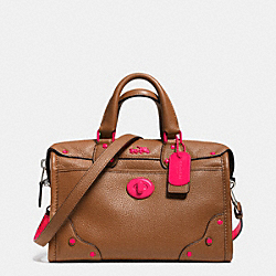 COACH F34556 - C.O.A.C.H. RHYDER 24 SATCHEL IN CALF LEATHER NE/SADDLE NEON PINK