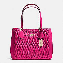 COACH F34564 Kitt Carryall In Gathered Leather LIGHT GOLD/PINK RUBY