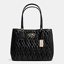COACH F34564 Kitt Carryall In Gathered Leather LIGHT GOLD/BLACK