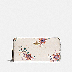 COACH F34585 - ACCORDION ZIP WALLET WITH MINI MAGNOLIA BOUQUET PRINT CHALK MULTI/LIGHT GOLD