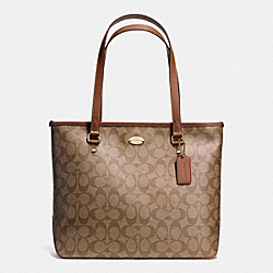 COACH ZIP TOP TOTE IN SIGNATURE - IMITATION GOLD/KHAKI/SADDLE - F34603