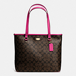COACH F34603 - ZIP TOP TOTE IN SIGNATURE LIGHT GOLD/BROWN/CRANBERRY F34603