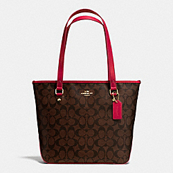 COACH F34603 Zip Top Tote In Signature IMITATION GOLD/BROW TRUE RED