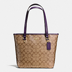COACH F34603 Zip Top Tote In Signature IMITATION GOLD/KHAKI AUBERGINE