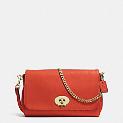MINI RUBY CROSSBODY IN LEATHER - f34604 - IMITATION GOLD/CARMINE