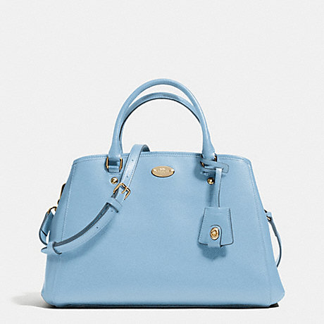 coach shoulder bag outlet bg95  COACH f34607 SMALL MARGOT CARRYALL IN CROSSGRAIN LEATHER LIGHT GOLD/PALE  BLUE