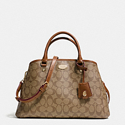 COACH F34608 - SMALL MARGOT CARRYALL IN SIGNATURE CANVAS  LIGHT GOLD/KHAKI/SADDLE