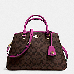 COACH F34608 Small Margot Carryall In Signature IMITATION GOLD/BROWN/FUCHSIA