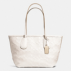COACH COACH TAXI ZIP TOP TOTE 24 IN LOGO EMBOSSED LEATHER - LIGHT GOLD/CHALK - F34622