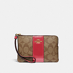 COACH F34650 Corner Zip Wristlet In Signature Canvas KHAKI/TRUE RED/LIGHT GOLD