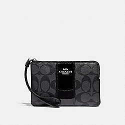 COACH F34650 Corner Zip Wristlet In Signature Canvas BLACK SMOKE/BLACK/SILVER