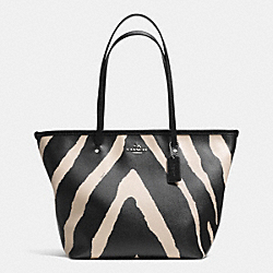 COACH F34654 - ZEBRA PRINT CANVAS STREET ZIP TOTE SILVER/BLACK MULTI